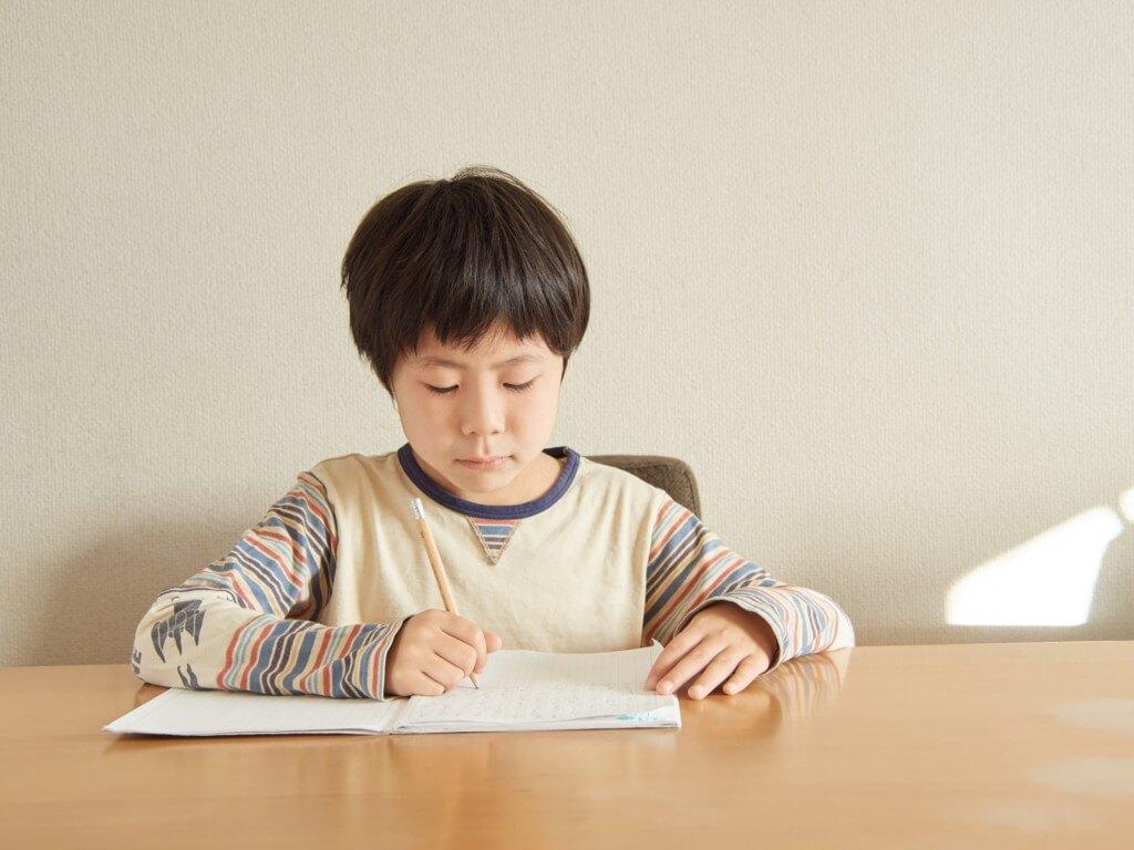 テーブルの上で勉強している、小学生の男の子