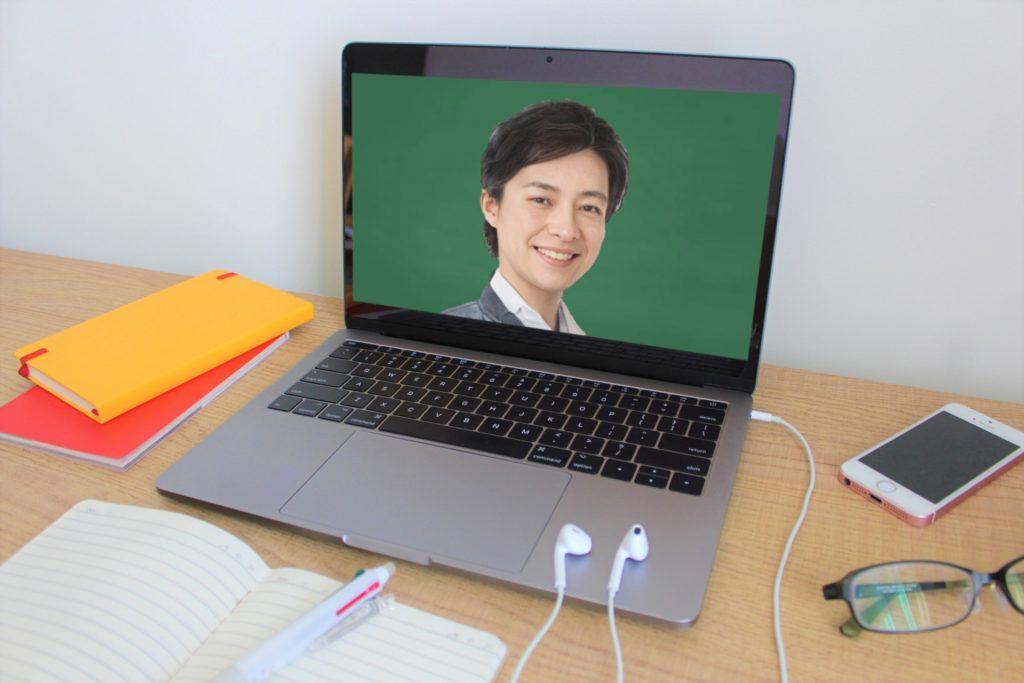 パソコンの画面に映った、オンライン家庭教師