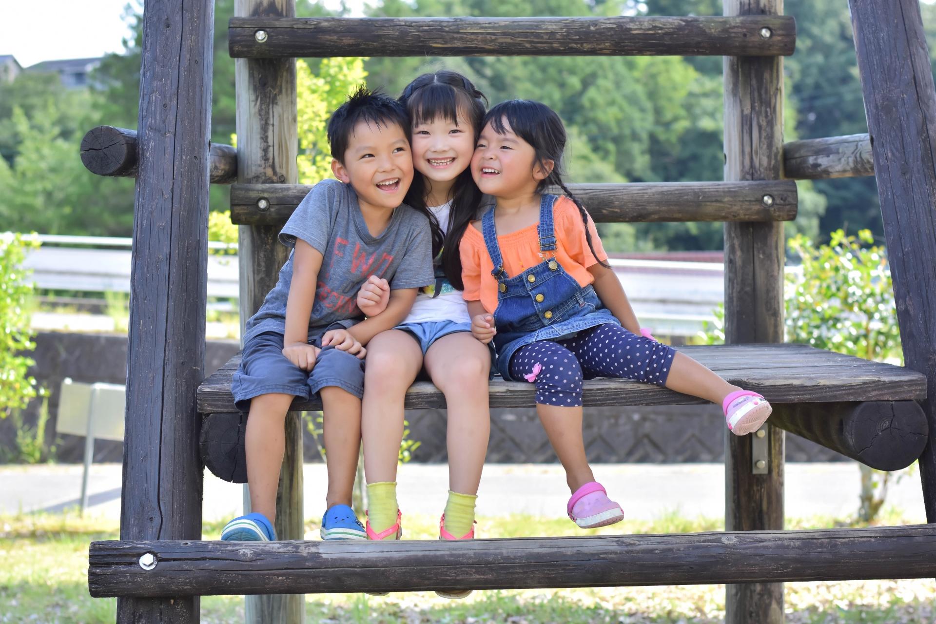 仲良し兄弟が公園で遊ぶ